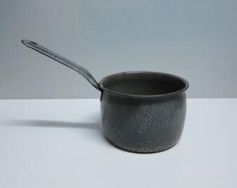 Vintage gray enamelware sauce pot