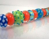 Encased Lampwork Bead Set (13) - Orange, Aqua, and Lime - SRA