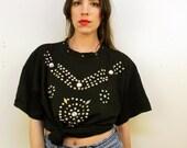 1990s Black Bedazzled T Shirt Size M-L