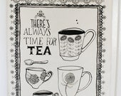 SALE Always time for tea 100% cotton screen printed tea towel
