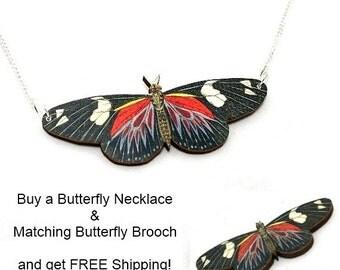 Black & Red 'Doris Longwing' Butterfly Jewellery Set, Butterfly Necklace, Butterfly Brooch, Illustration Jewelry, Animal Brooch