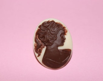 SALE Large Brown Victorian Lady Cameo Ring