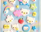 Cute Kawaii Cloud Bear puffy Sticker Sheet