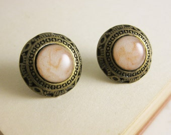 Pearl White and Gold Art Deco Stud Earrings - Bronze and resin studs - Surgical Steel Posts