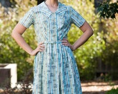 1960's Olive Green, White, and Aqua Blue Striped Dress With Toile Print Small-Medium