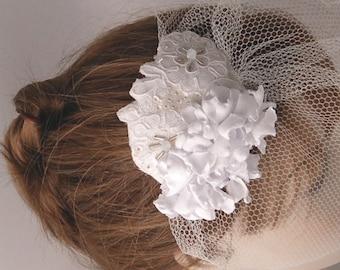 Bridal Birdcage Blusher Veil with Ivory Lace Headpeice,Bridal fascinator ,Wedding hair, Headpeices-JULIETTE