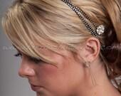Swarovski Rhinestone Black Hair Wrap, Black Headband, Crystal Bohemian Head Wrap - Brenna