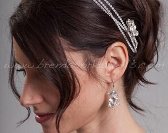 Bohemian Style Swarovski Rhinestone Hair Wrap, Bridal Headband, Wedding Head Wrap - Janessa