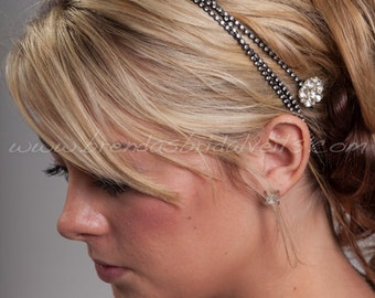 Swarovski Rhinestone Black Hair Wrap, Black Headband, Crystal Bohemian Head Wrap - Brenna