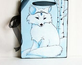 Fox Art- Arctic Princess- Wall Hanging- Blue and White-Woodland Creatures