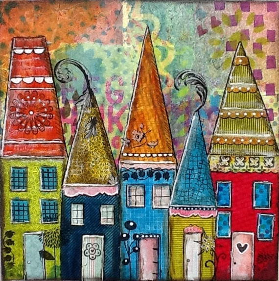 112 Best Images About House Painting On Pinterest: Art Original Mixed Media Collage Artwork Colorful Blue Red
