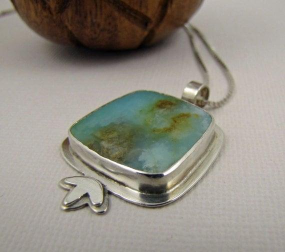 Blue Peruvian Opal Metalwork Necklace. Sterling Silver Stone Pendant. OOAK Artisan Jewelry