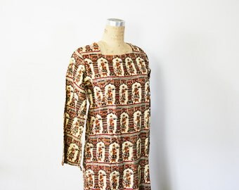 vintage 60s India Print Kaftan Maxi Dress Hippie Boho Cotton- Size M