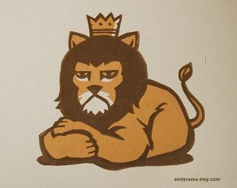 Grumpy King Lion - Lino Block Print