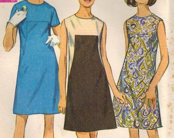 1960s Simplicity 7535 Vintage Sewing Pattern Junior A-Line Dress Size 9 Bust 32