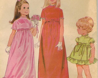 1960s McCall's 9384 Vintage Sewing Pattern Toddlers and Girls Party Dress Size 2, Size 4