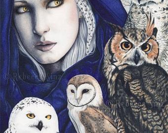 Wisdom PRINT Woman Shaman OWLS birds Fantasy Art Blue Snowy Owl Barn Owl Great Horned Owl Nature Portrait Watercolor 3 SIZES