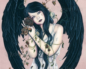 Wither ORIGINAL Painting Gothic Angel Art