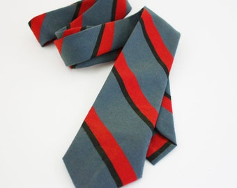 Vintage Men's Necktie - Striped Grey, Black and Red