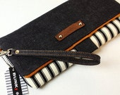 Summer Sale .. Denim WRISTLET CLUTCH ...Black and White Wristlet Clutch, Zipper, Ticking, Denim, Striped