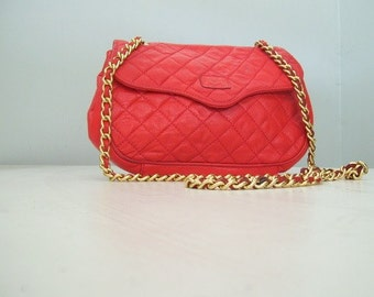 Vintage 80s Quilted Red Leather Chain Strap Purse Bag
