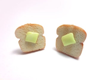 Butter Toast Earrings, Miniature Food Jewelry, Polymer Clay Food Jewelry
