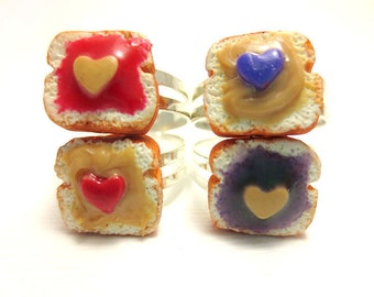 Peanut Butter and Jam Toast Rings, Miniature Food Jewelry, Polymer Clay Food Jewelry, BFF
