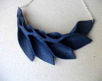 Petal Collection-  Dark Blue Leather Petals