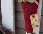 Valentine Red Wool Heart Make-Do