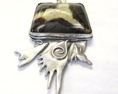 Spirit Bird, Eagle pendant in sterling silver, Symbolic bird fetish jewelry with septarian nodule stone