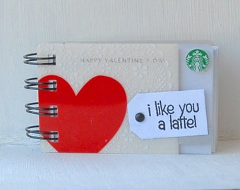 STARBUCKS VALENTINE Upcycled Gift Card Spiral Notepad Notebook