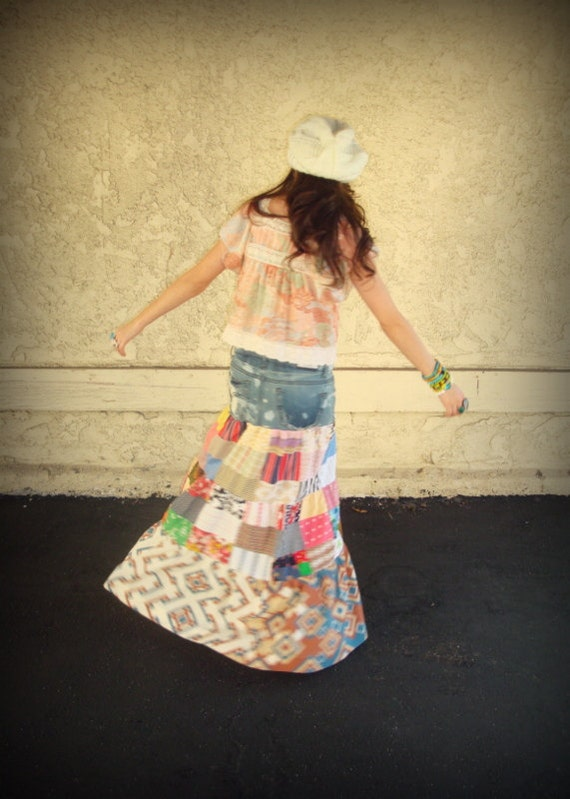 LOVE Hippie Vintage Long Gypsy Tiered Patchwork Maxi Skirt