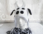 White Fleece Cow Barnyard Animal Hat in Childs Large Size by MinnieMaes - MinnieMaes