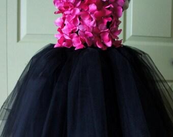 Flower girl dress Black and Bright Pink tutu dress, flower top, hydrangea top, toddler tutu dress