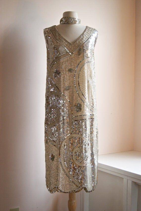 Vintage beaded flapper dress 20s style gatsby dress for Beaded vintage style wedding dresses