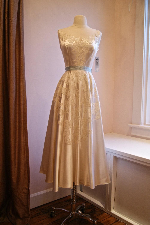 1940s Dress Vintage 40s 50s Wedding Dress Tea Length In