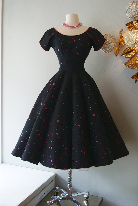 1950s Dress Vintage 50s Hot Pink Polka Dot Dress Xs