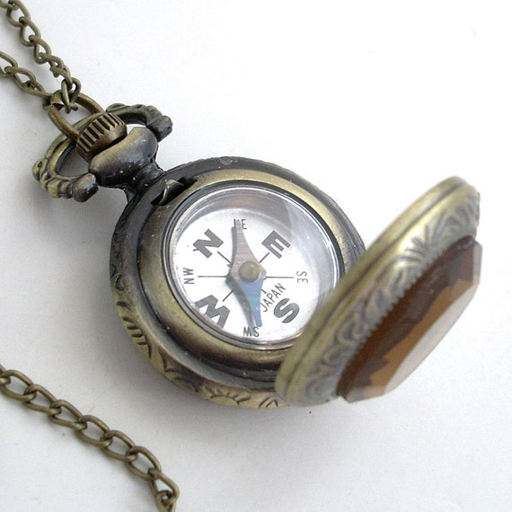 pocket style compass pendant