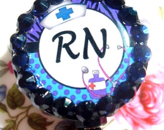 "Registered Nurse ""RN"" ID Badge Holder - Blue"