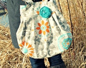 Large Grey Orange and Teal Modern Floral Handbag