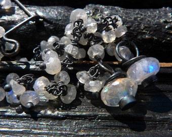 3 DAY SALE rainbow moonstone earrings, Brazilian jewelry