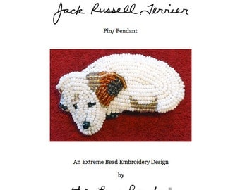 PDF file: JACK RUSSELL Terrier Dog Pin Beaded Animal Beading Pattern (For Personal Use Only)