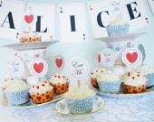 Alice in Wonderland printable party kit DiY party printables complete customizable deluxe birthday party printable décor editable PDF files
