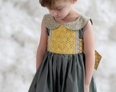 Limited Edition Girls Grey and Yellow Peter Pan Collar Party Dress- Mary Sunshine Sizes 12/18 through 14 - lillipopsdesigns