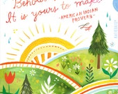 Behold This Day Art Print | Watercolor Quote | Hand Lettered Wall Art | Watercolor Painting | Katie Daisy | 8x10 | 11x14