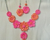Pink and Orange Floral Bib Necklace and Dangle Earrings Set