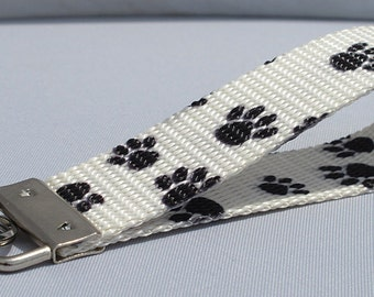 Key fob Keychain wristlet pet dog paw print pattern in black on off white