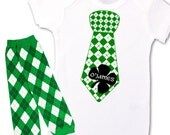 St. Patrick's Day funny baby tie bodysuit and matching leg warmer set