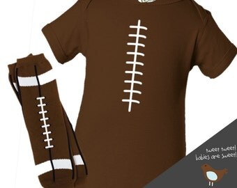 Personalized DARK brown football bodysuit and leg warmers set great new baby or baby shower gift