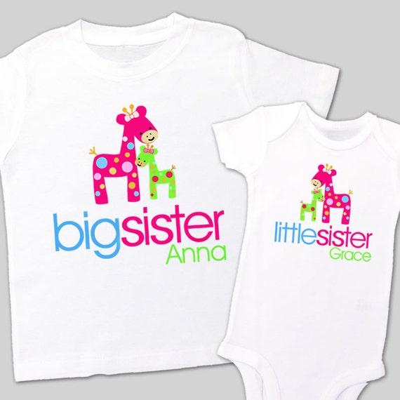 Big sister little sister matching shirts adorable giraffe matching